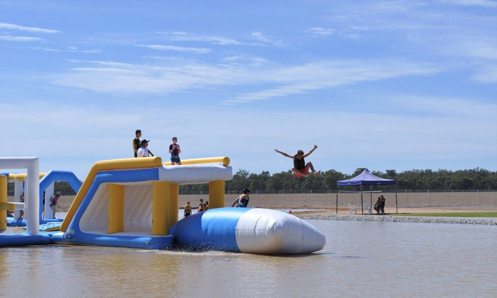 High-quality floating inflatable obstacle course pvc customized for pool-4