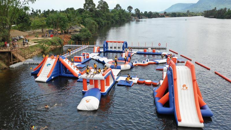Cambodia 100 People Inflatable Splash Park-inflatable water parks-floating water park-inflatable water playground-Bouncia