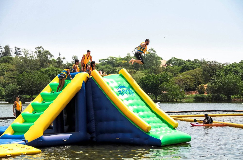Bouncia 100 people inflatable water play factory price for lake-23