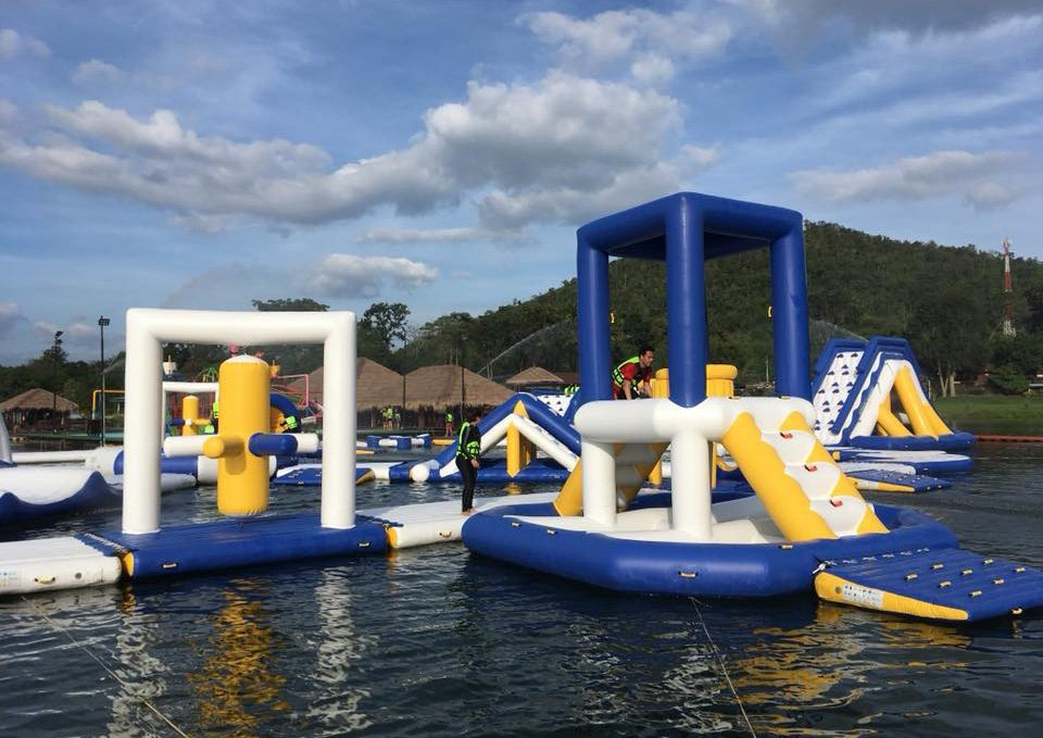 floating inflatable water slide for sale splash supplier for lake-23