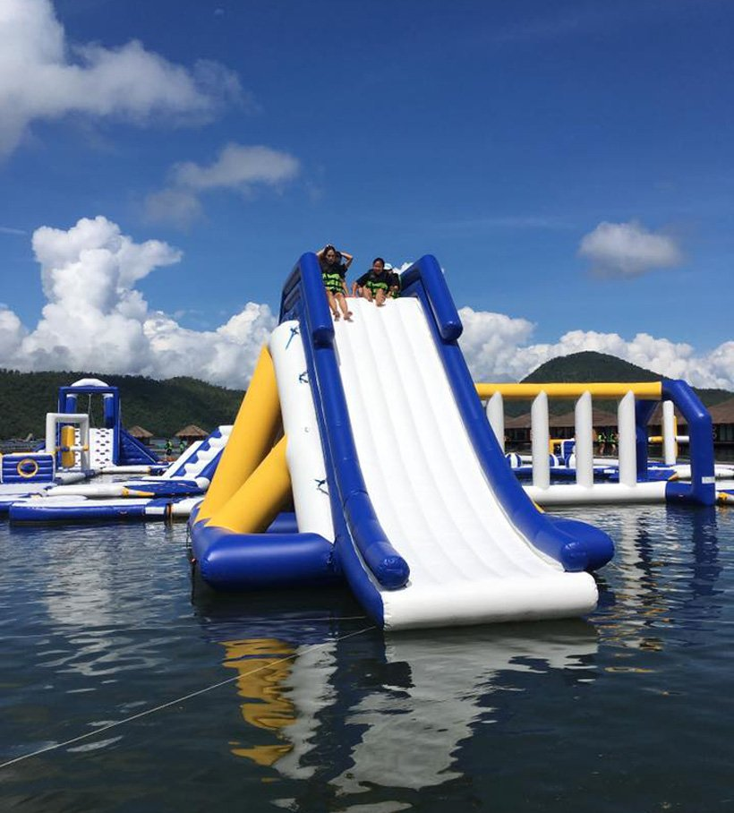 floating inflatable water slide for sale splash supplier for lake-24