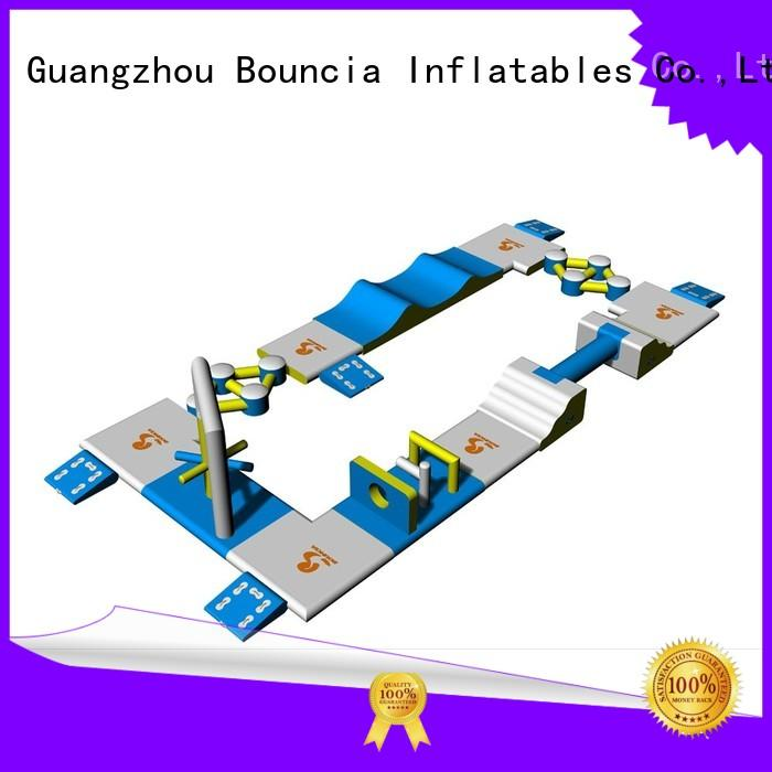 bridge inflatable floating water park play rental Bouncia company