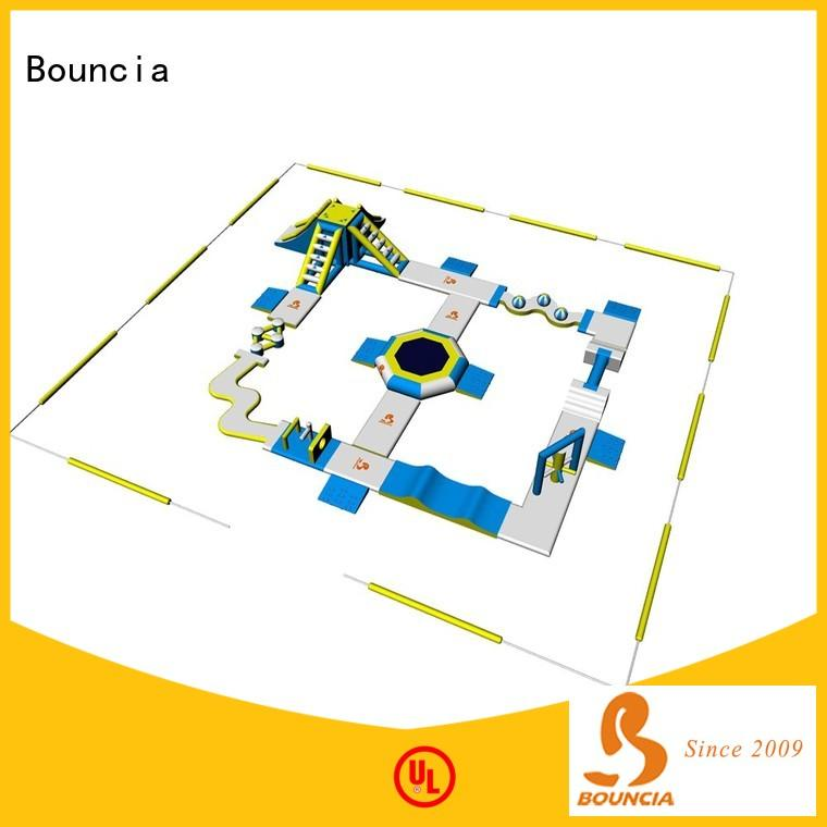 Bouncia crazy inflatable water slide park factory price for lake