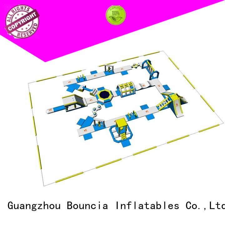inflatable float trampoline obstacle blow up water park inflatables Bouncia Brand